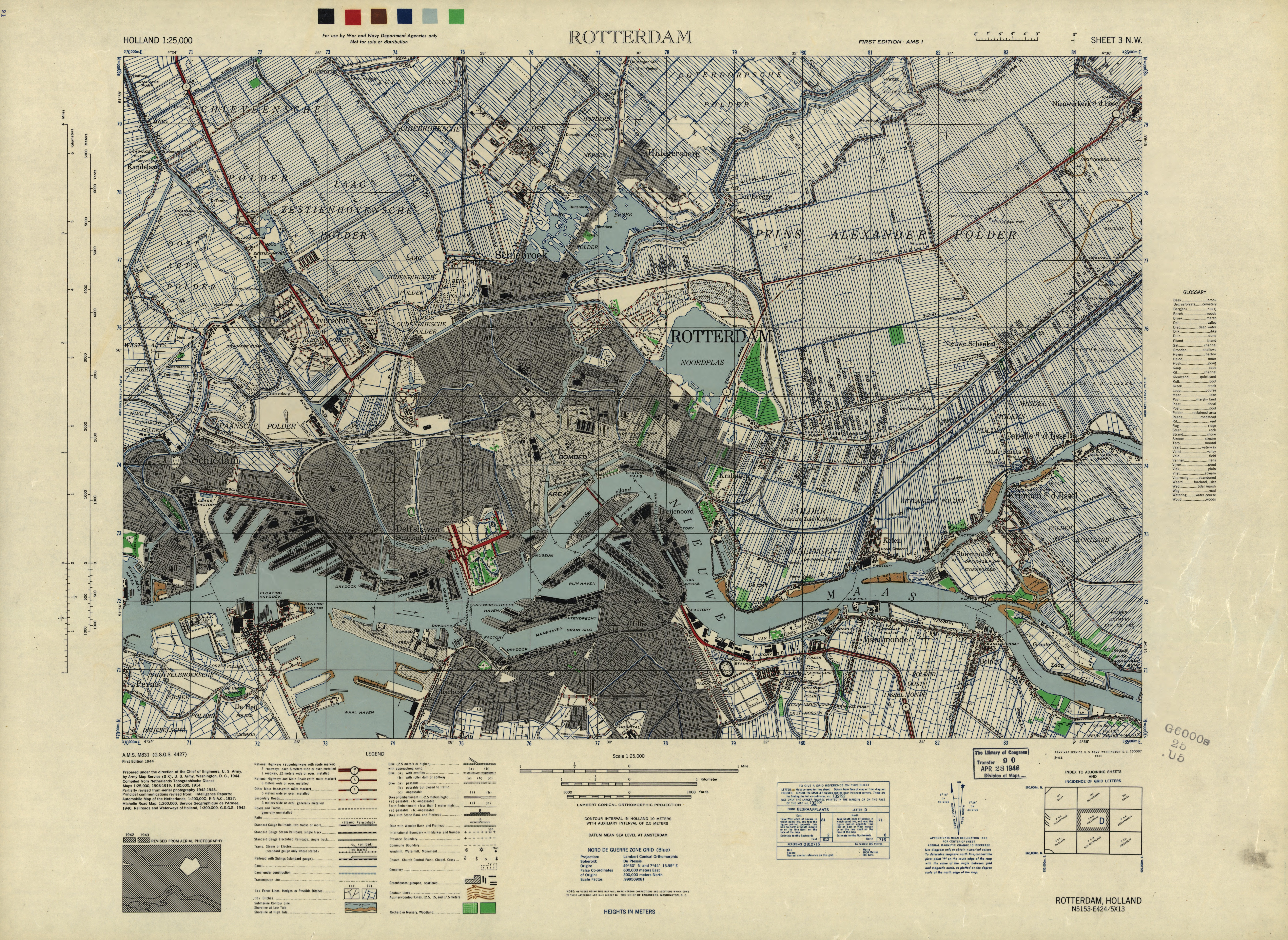 US Army Map Of The Bombed City Of Rotterdam In The - Us army travel map